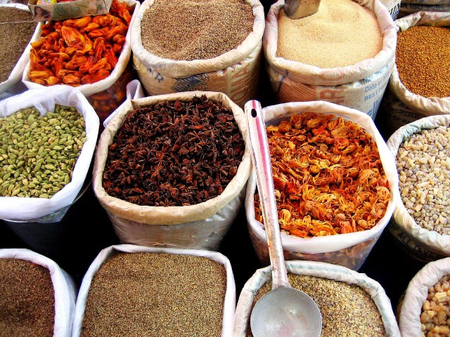 Spices and herbs at a grocery shop in Goa, Image source
