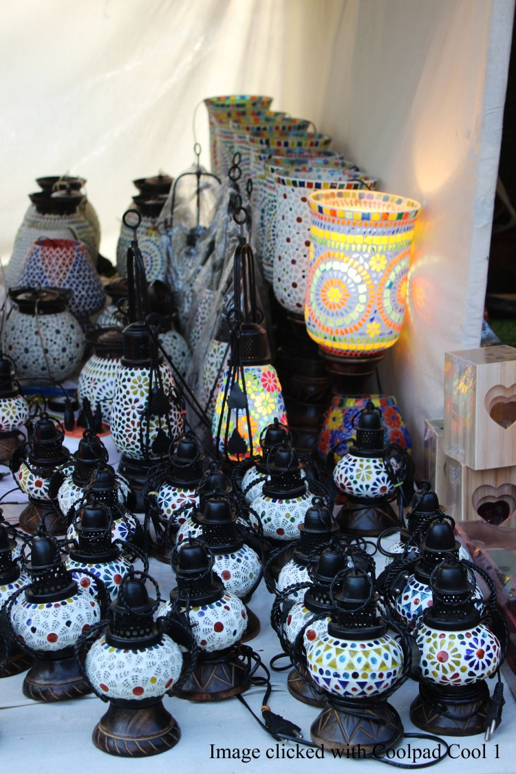 Mosaic lamps at Dilli Haat_shot with Coolpad Cool1