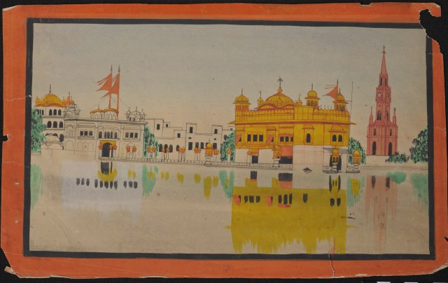 19th century watercolor of Darbar Sahib, Amritsar - Panjab Digital Library