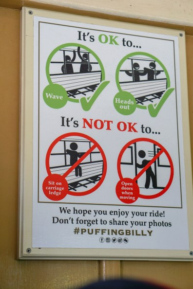 Sign on Puffing Billy's Train