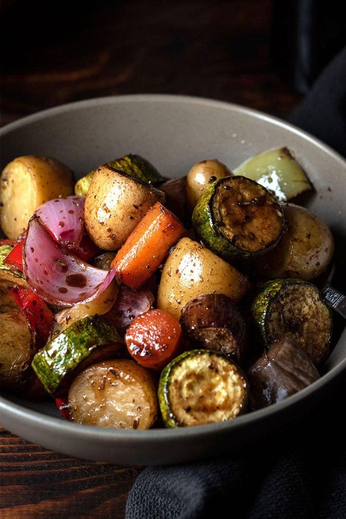 ψητά λαχανικά φούρνου με μπαλσάμικο και μέλι 4