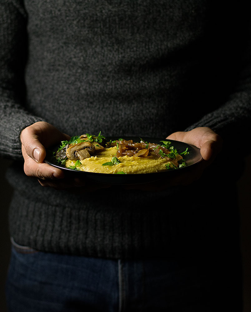 yellow-split-pea-purée-with-mushrooms-and-caramelized-onions
