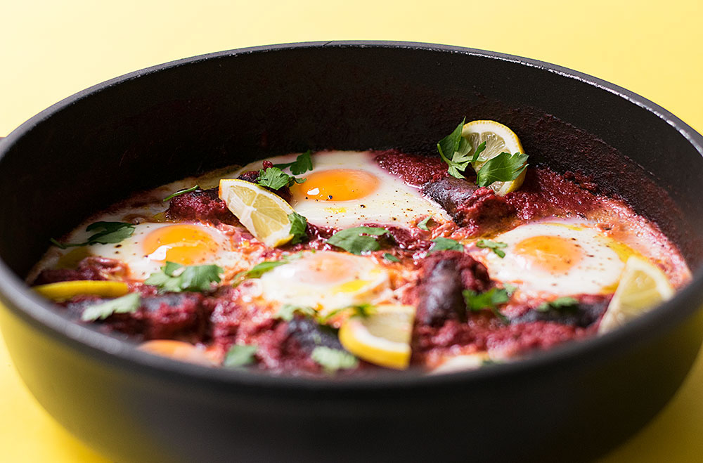 shakshuka with sausage and vegetable sauce 2