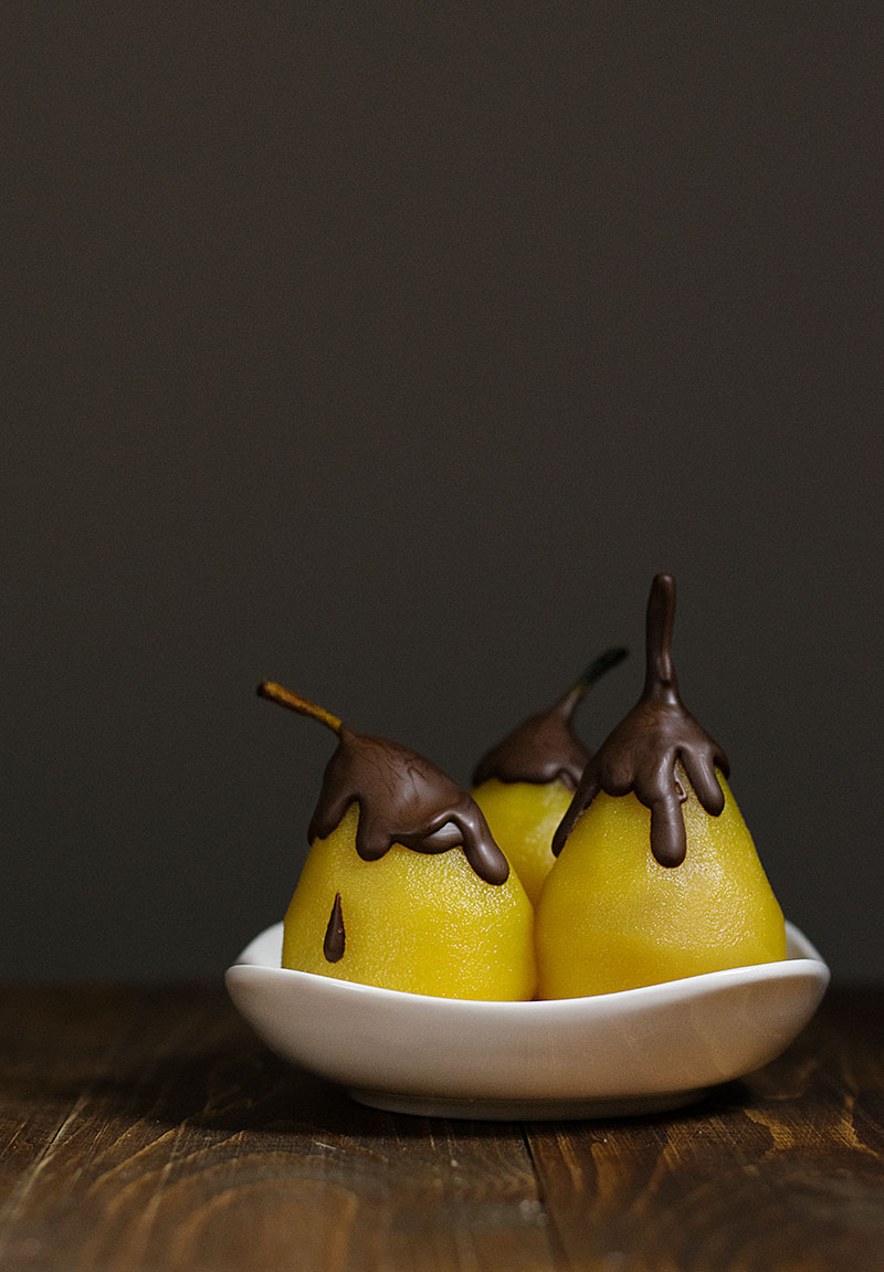 marble semolina cake with poached pears 2