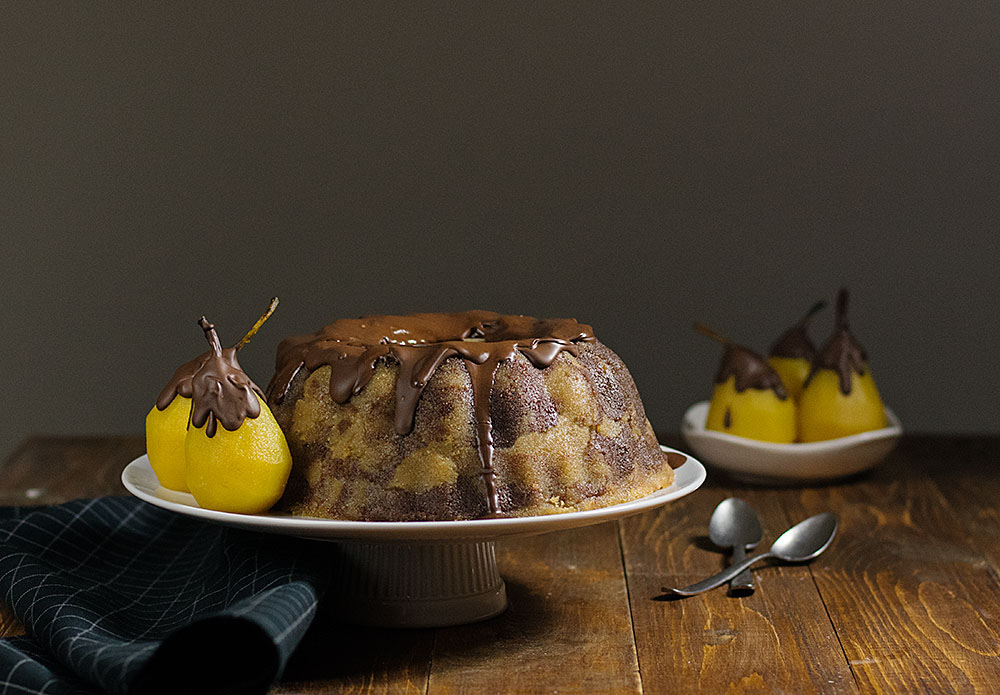 marble semolina cake with poached pears 4