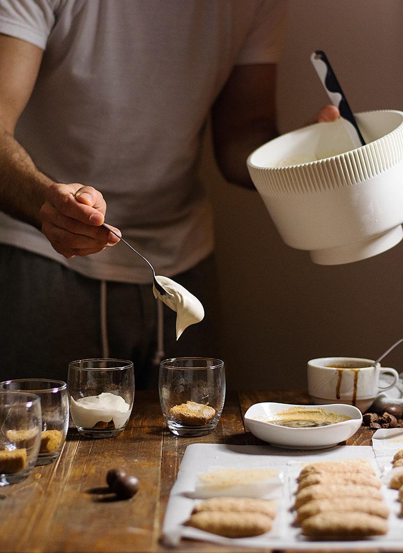 Faux tiramisu in a glass (eggless)