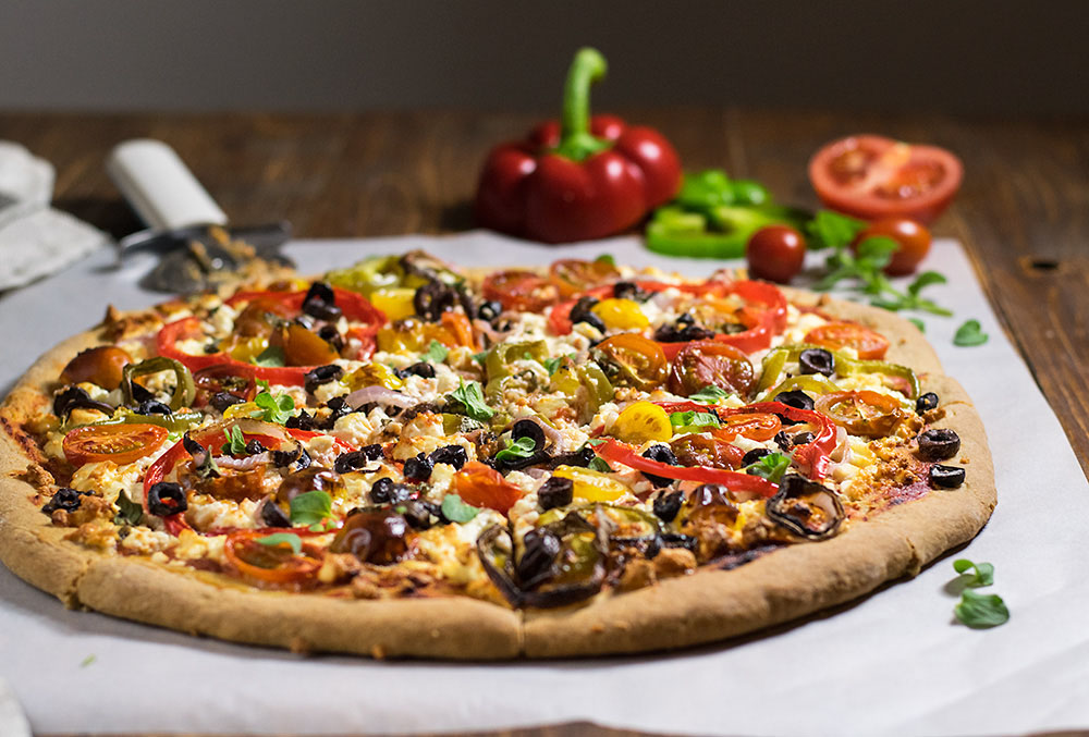 Whole wheat Mediterranean pizza 3
