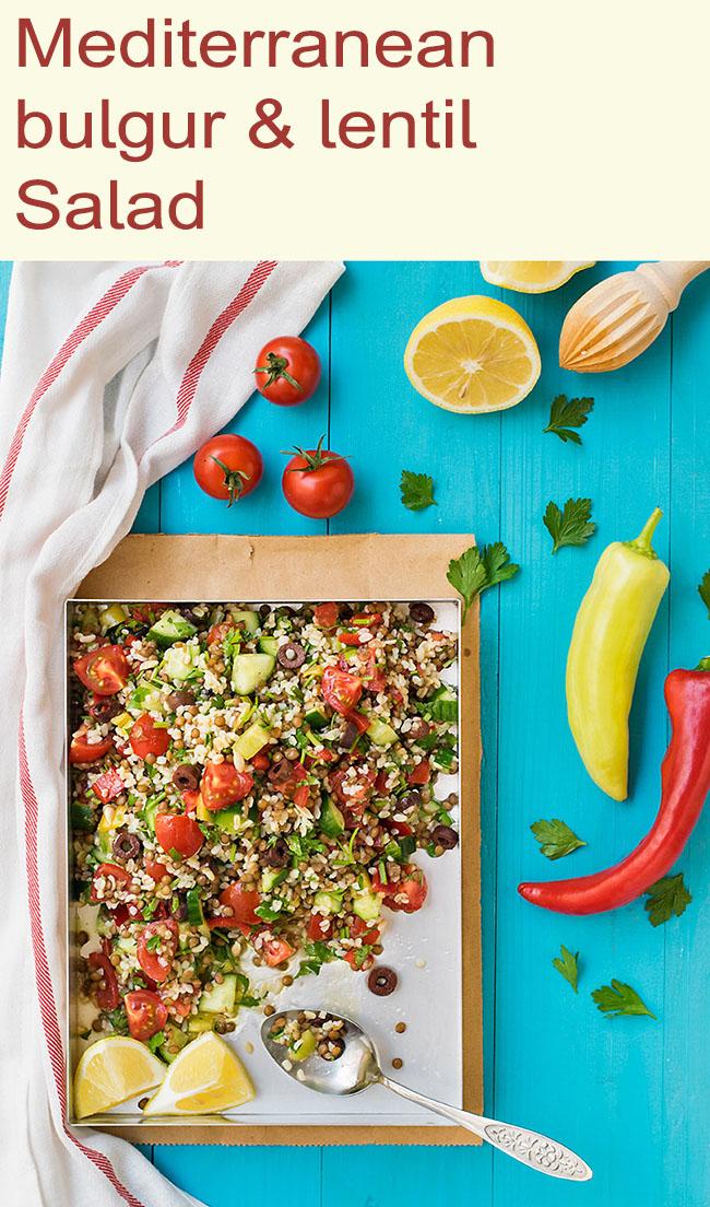 Mediterranean bulgur & lentil lunch salad 6