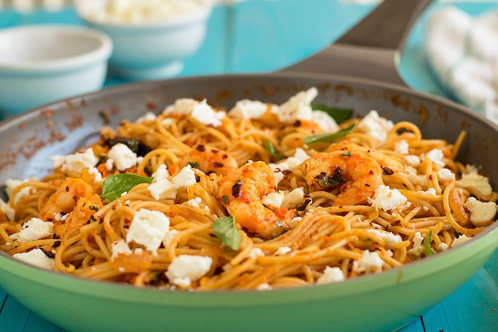 Roasted pepper and ouzo shrimp spaghetti 6