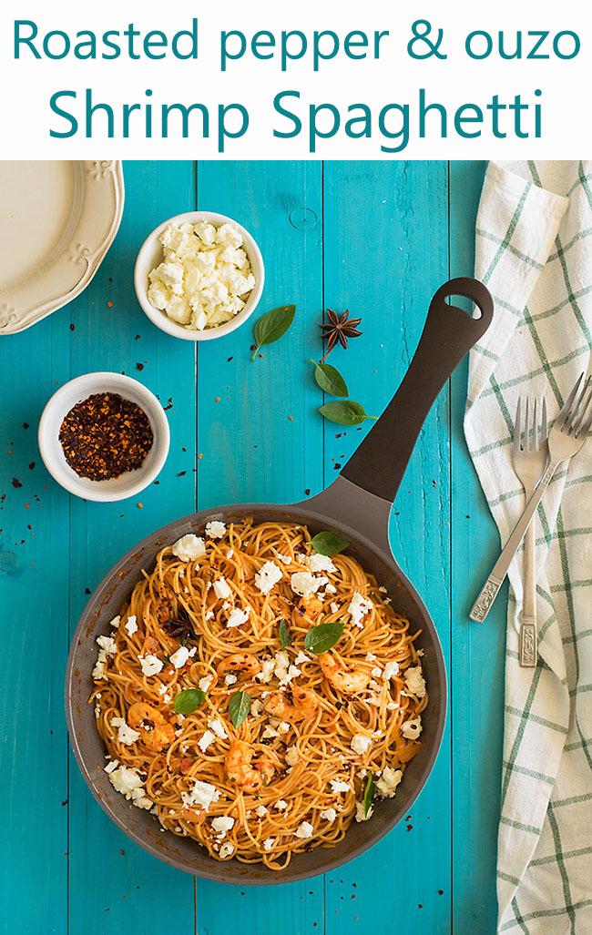 Roasted pepper and ouzo shrimp spaghetti 7