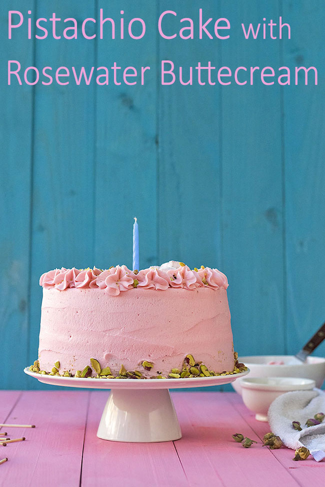 Fluffy pistachio cake with rosewater buttercream 9