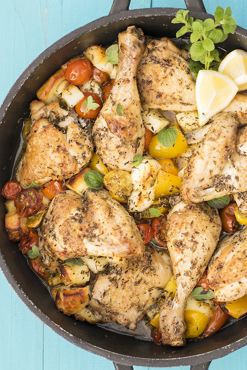 Baked Greek chicken with haloumi and heirloom tomatoes 2