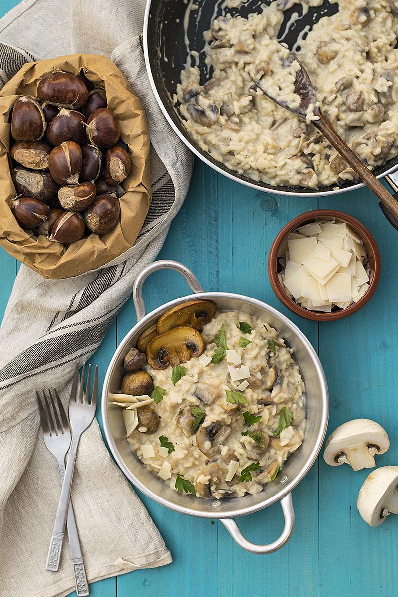 Mushroom & chestnut creamy risotto