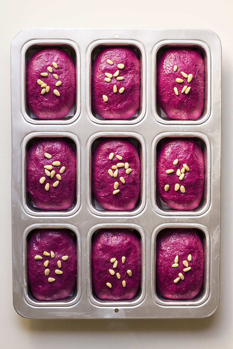 Beet, basil, and olive oil mini bread loaves
