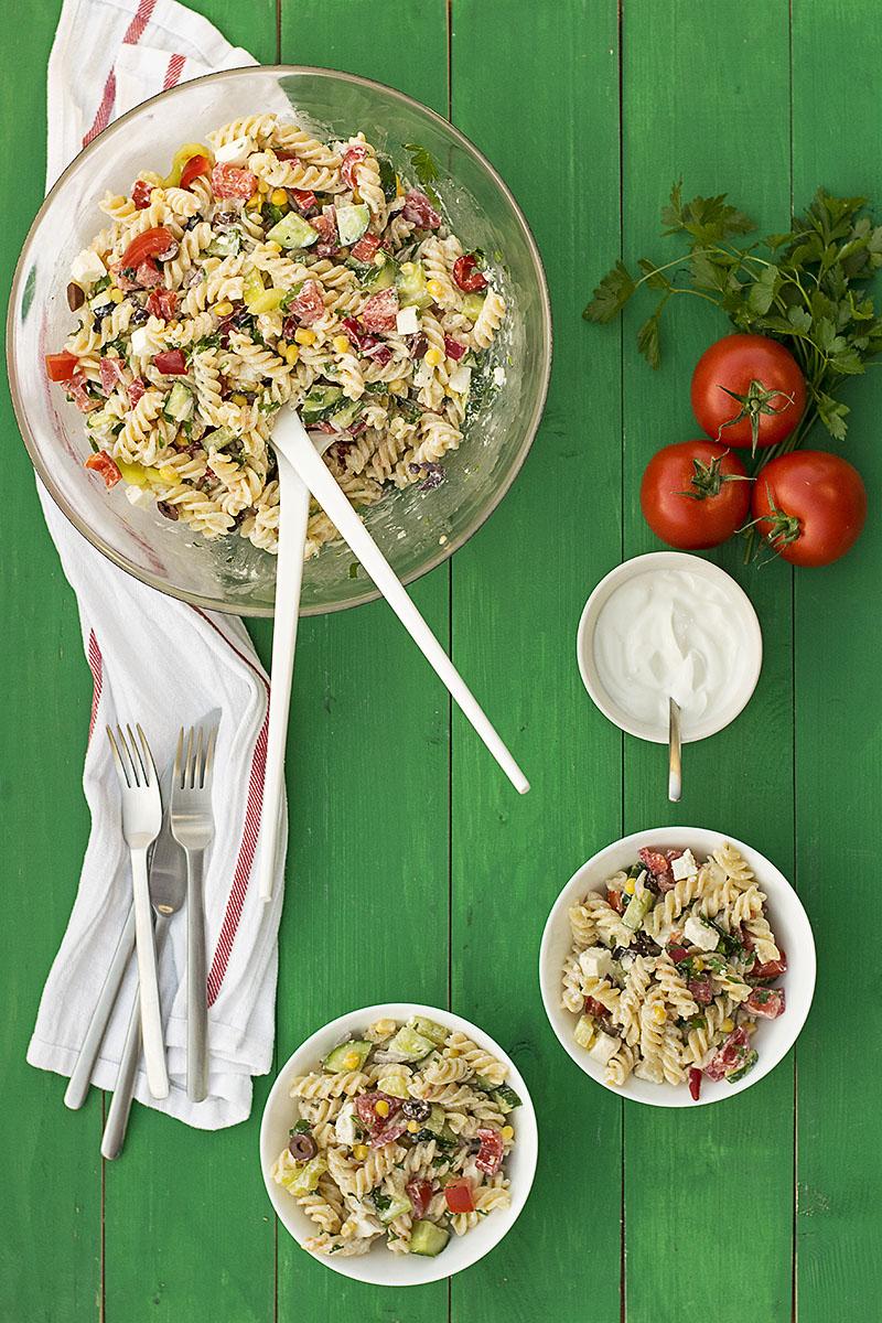 Creamy Greek salad pasta recipe 3