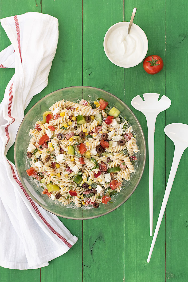Creamy Greek salad pasta recipe