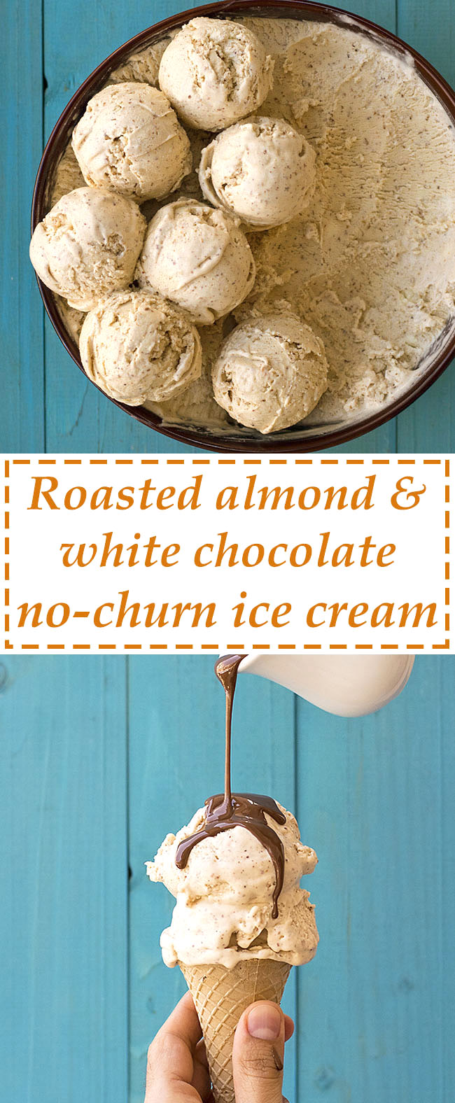 Roasted almond & white chocolate no-churn ice cream 7