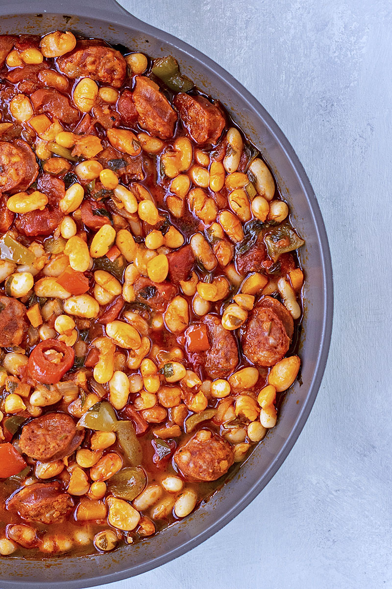 Spanish white bean stew with chorizo sausage 2