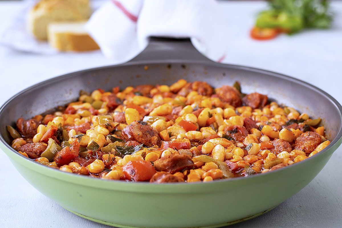 Spanish white bean stew with chorizo sausage 3