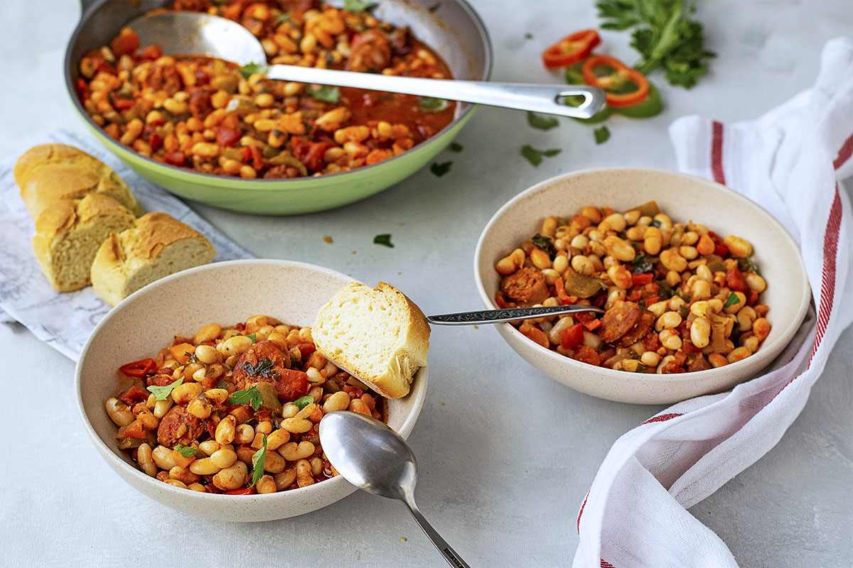 Spanish white bean stew with chorizo sausage 6