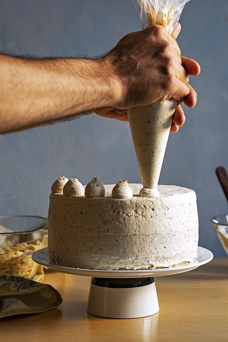 Roasted almond & white chocolate mousse cake (nougat torte) 3