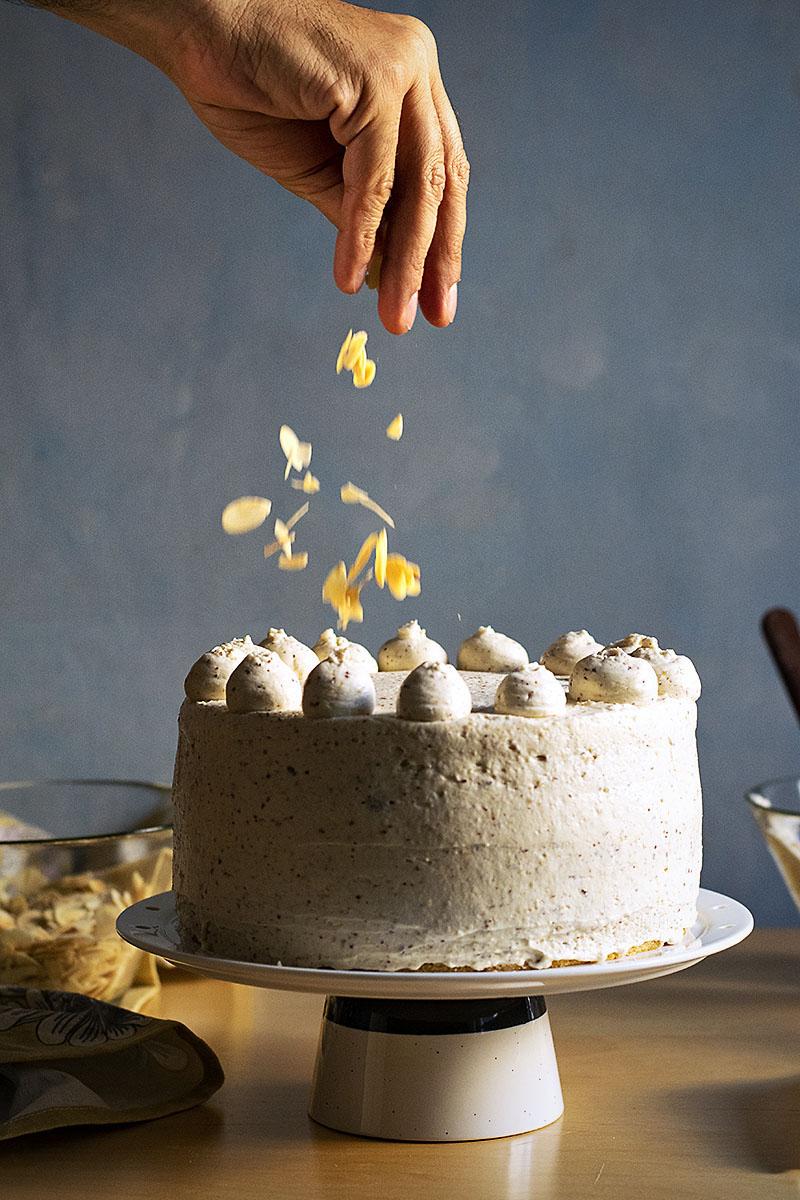Roasted almond & white chocolate mousse cake (nougat torte) 4