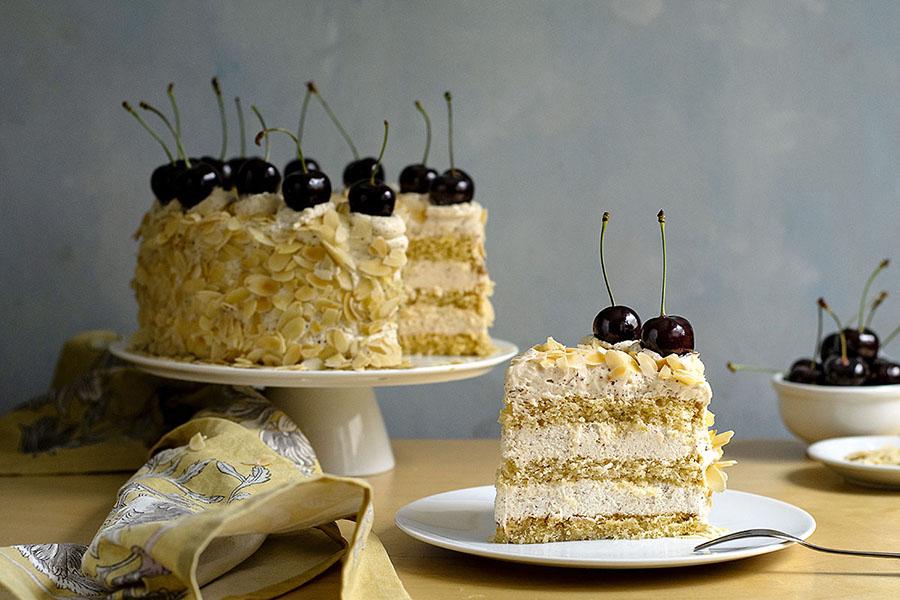 Roasted almond & white chocolate mousse cake (nougat torte) 7