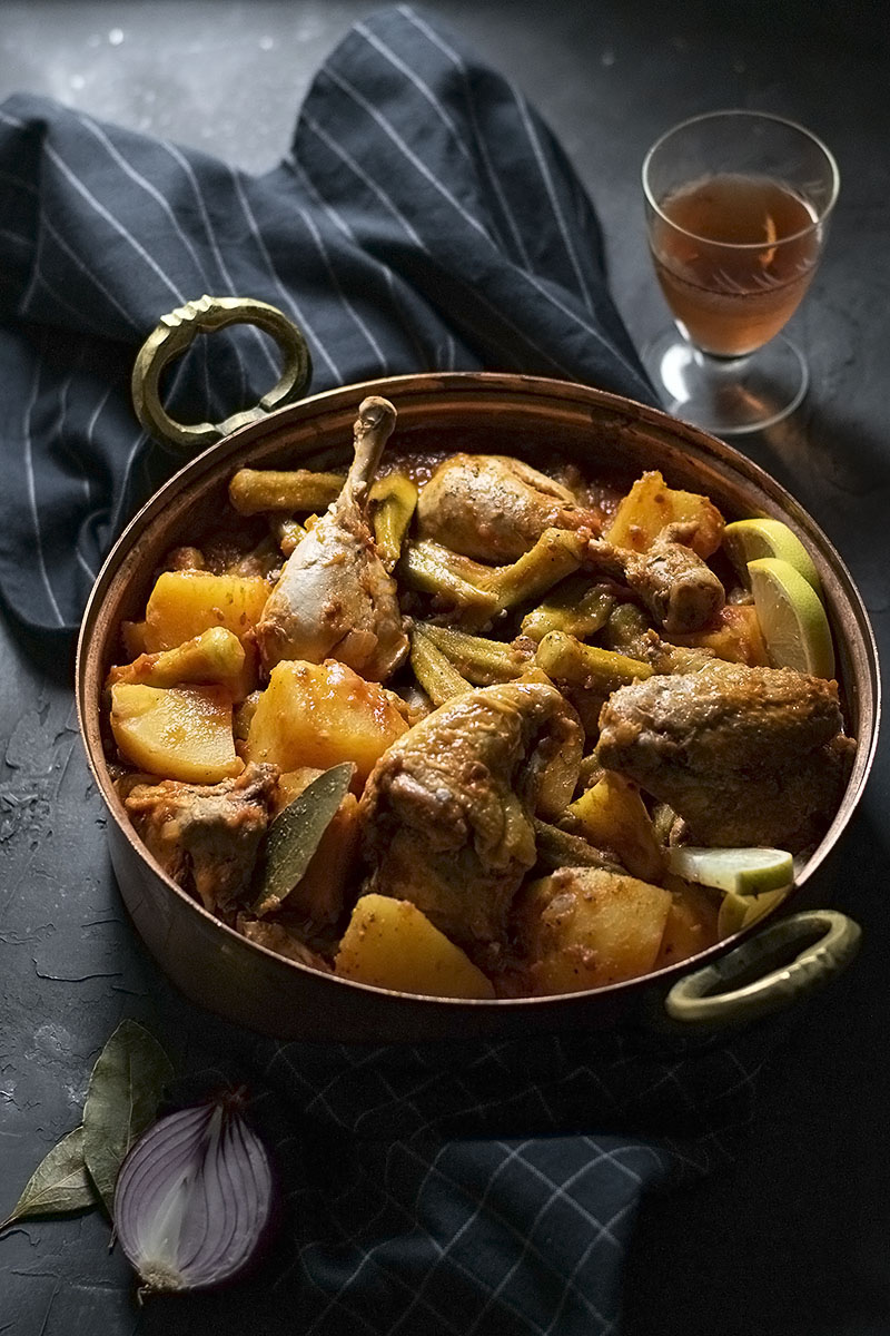 Greek Chicken Stew with Potatoes and Okra 4