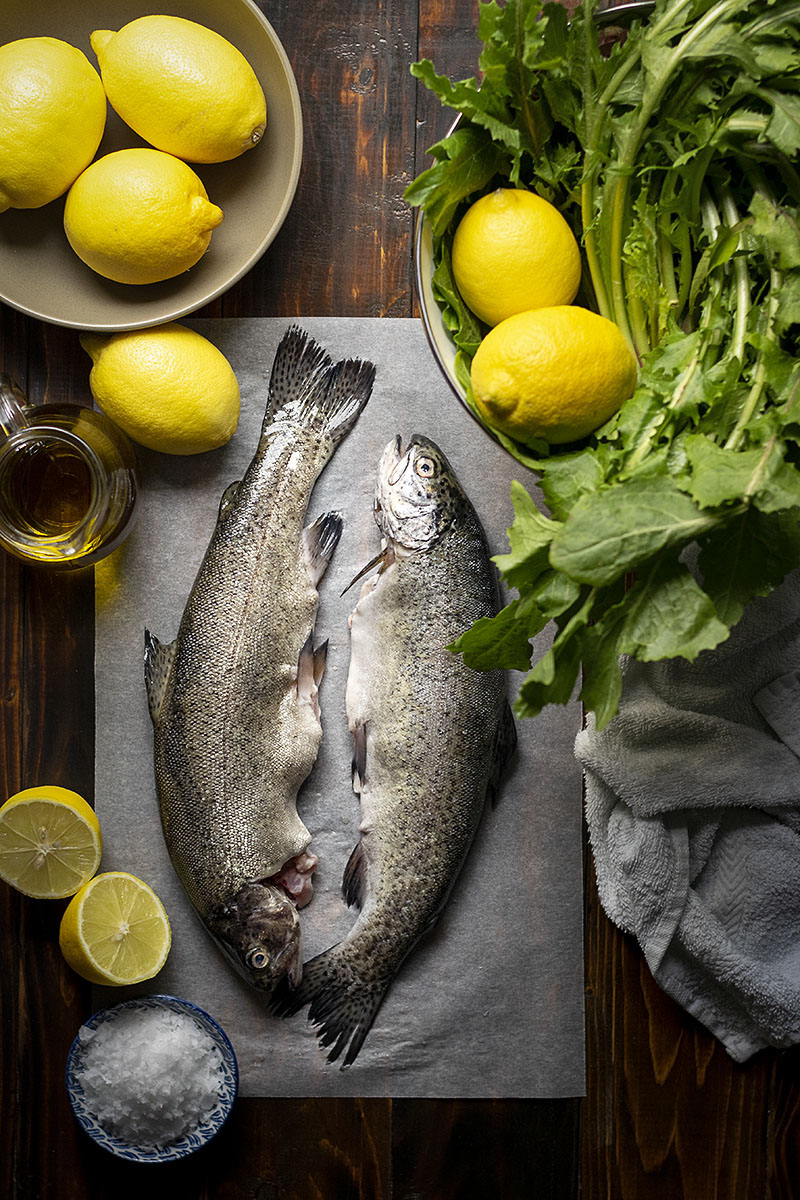 Simple broiled rainbow trout with dandelion greens 2