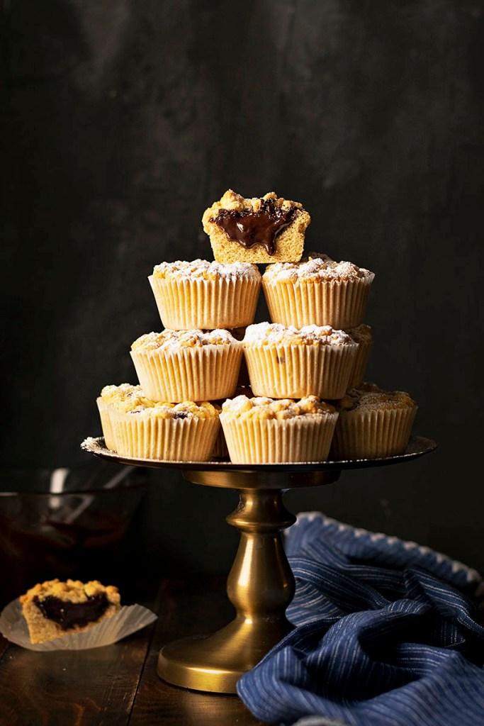 Tahini & Chocolate (or Nutella) stuffed crumble muffins 3