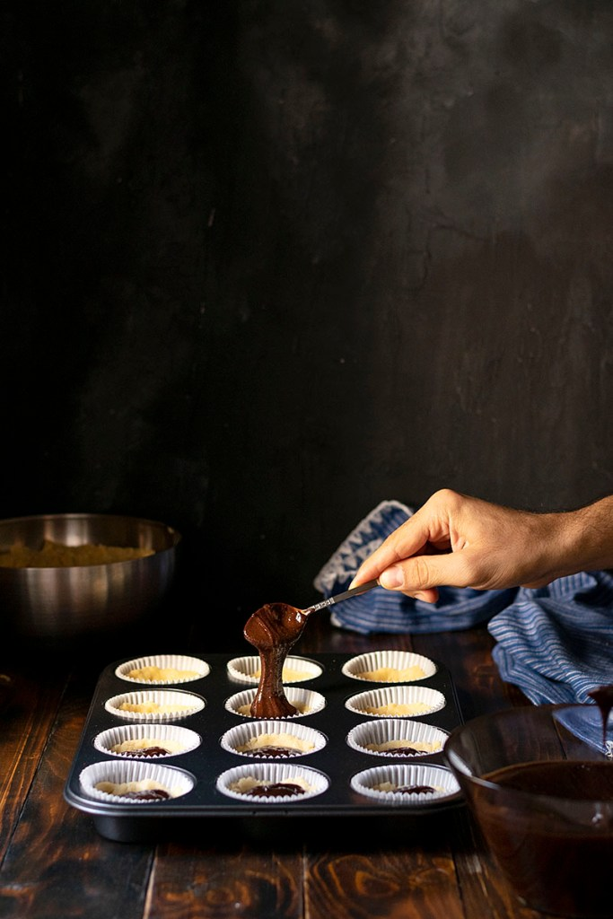Tahini & Chocolate (or Nutella) stuffed crumble muffins 4