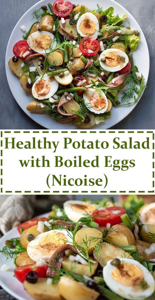 Healthy Mediterranean potato salad with boiled eggs (Nicoise) 7