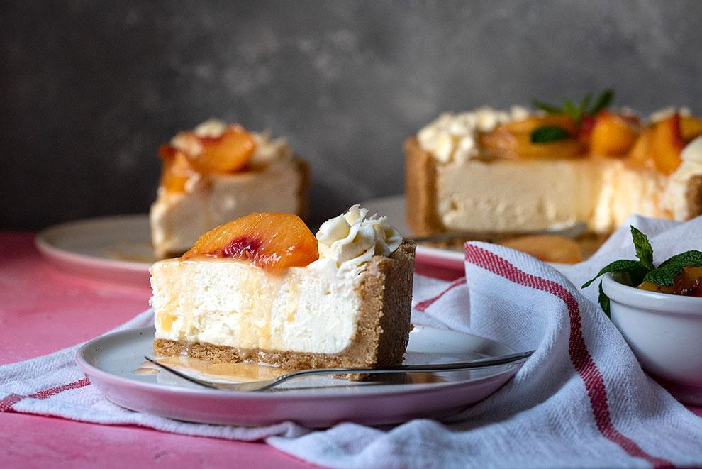easy no bake cheesecake recipe with sateed peaches 6