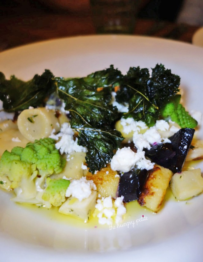 Gnocchi with forgotten vegetables, feta cheese and kale chips