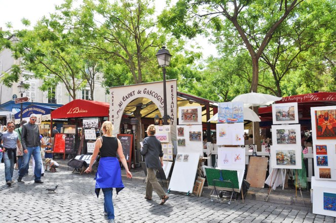 Place du Tertre - open air art gallery. This used to be the main square of a medieval village before it became a part of Paris