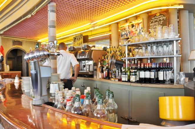 Inside Café des 2 Moulins - I had a great burger and fries here.