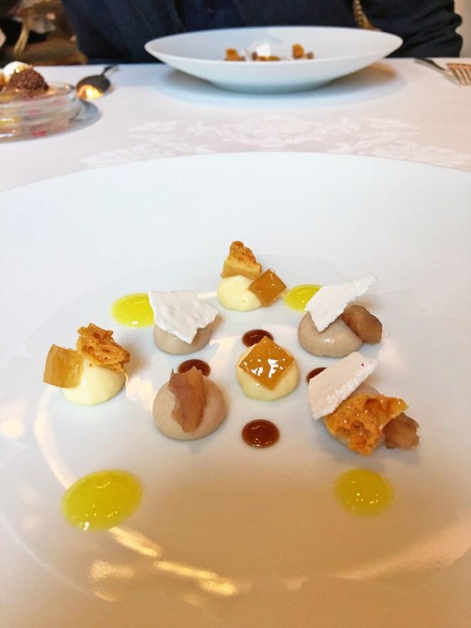 Pre-dessert palate cleansers: lemon curd, rum, honey brittle