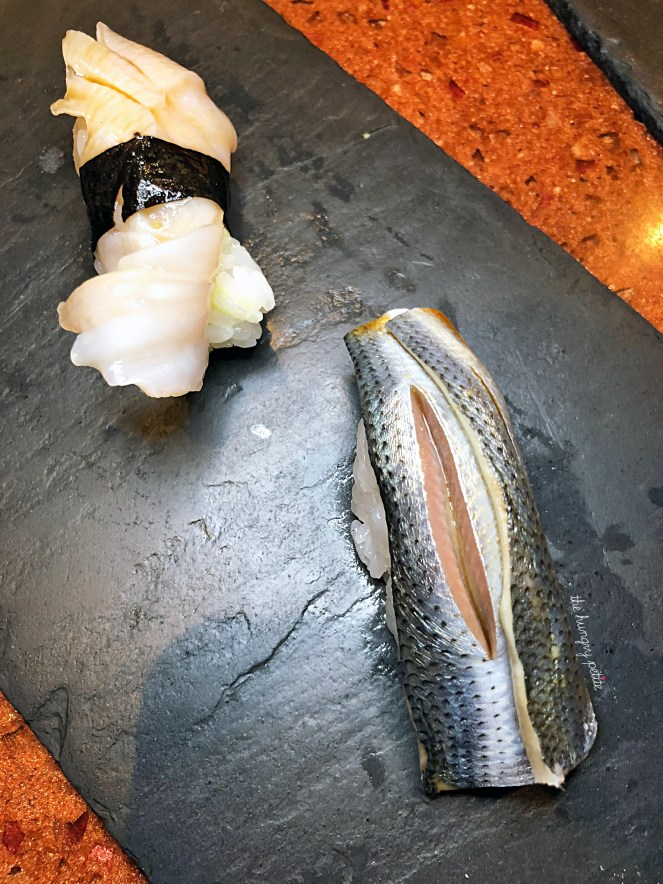 Kohada (Marinated Japanese Gizzard Shad) and Mirugai (Washington State Geoduck). The Kohada was extremely flavorful, but it tasted too much like anchovies to me (which I'm oddly not a fan of). My husband loved it though. The Mirugai was good, nothing mind blowing.