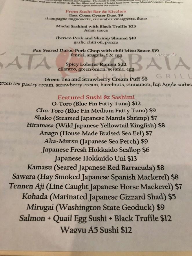 Kata Robata featured menu of the day