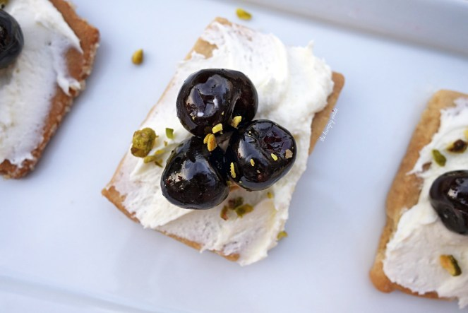 "Dessert ""Crostini"" - amarena cherry, mascarpone, pistachio, shortbread. Get this if you want a light dessert option. Just enough sweetness to satisfy a small sugar craving. $10"