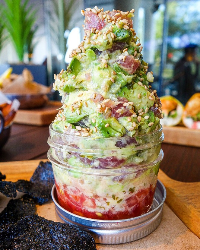 Tuna Poke In A Jar- sushi grade ahi, avocado, fresh tomatoes, nori crisps, ginger, spring onions & ponzu. The most beautiful of the appetizers I've had here. Loved all the avocado with the tuna. Warning: Lots of ginger in this one, too. $14