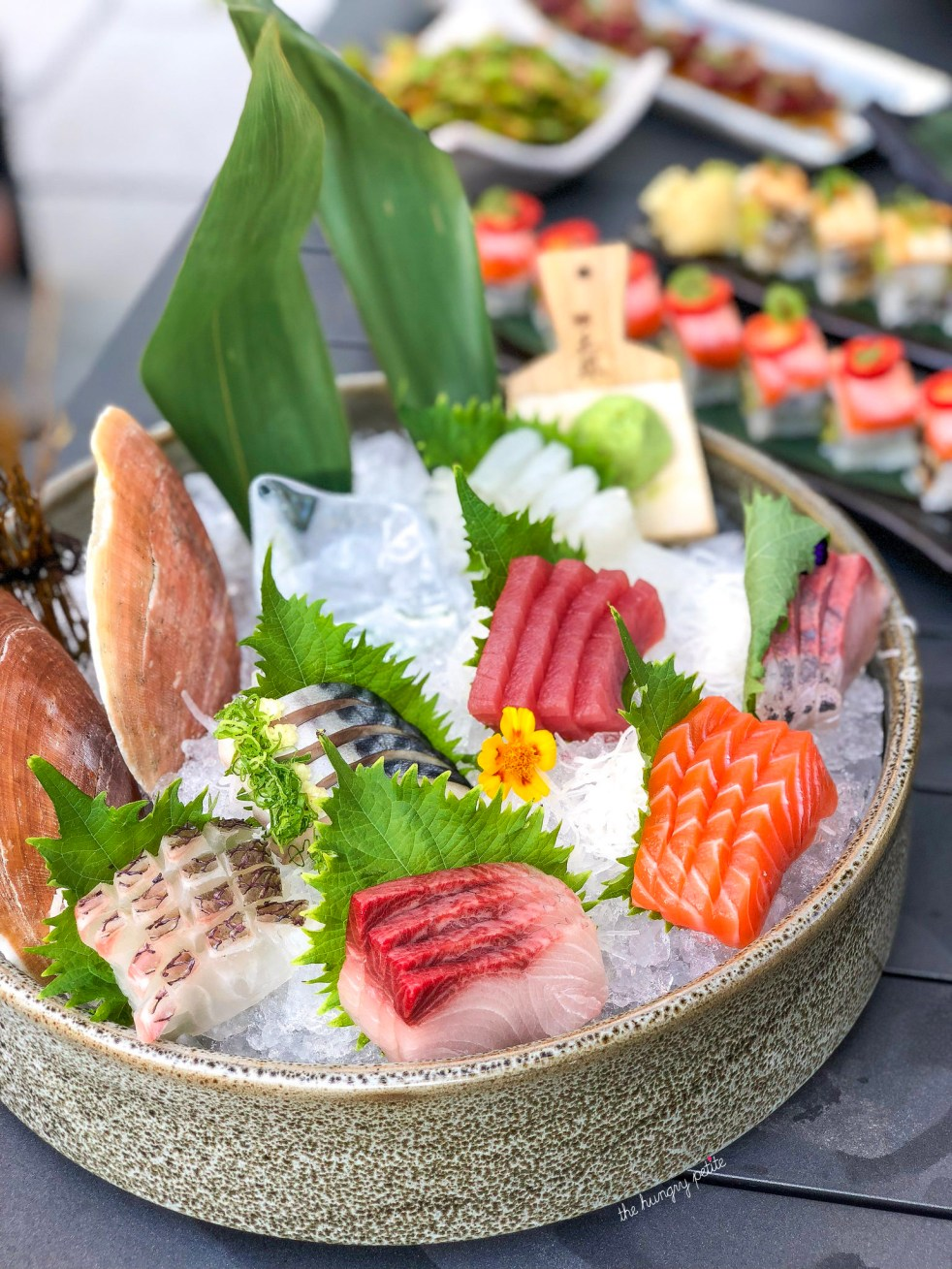 Sashimi Chef Selection included pieces of madai, Kingusa-Mon, and Mebachi Maguro