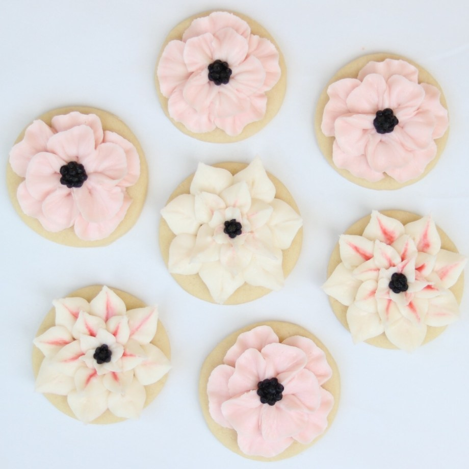 Anemone and Dahlia Buttercream frosted cookie tutorial