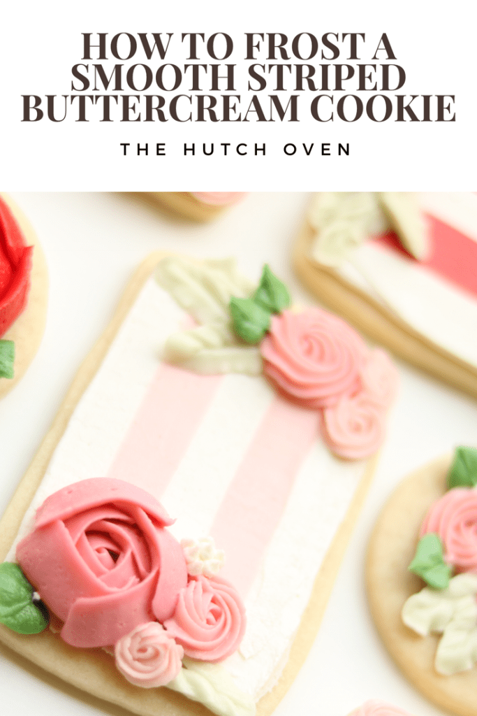 how to frost a smooth buttercream striped cookie