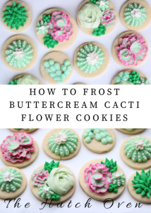 how to frost buttercream cacti cookies