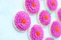 zinnia flower cookie tutorial