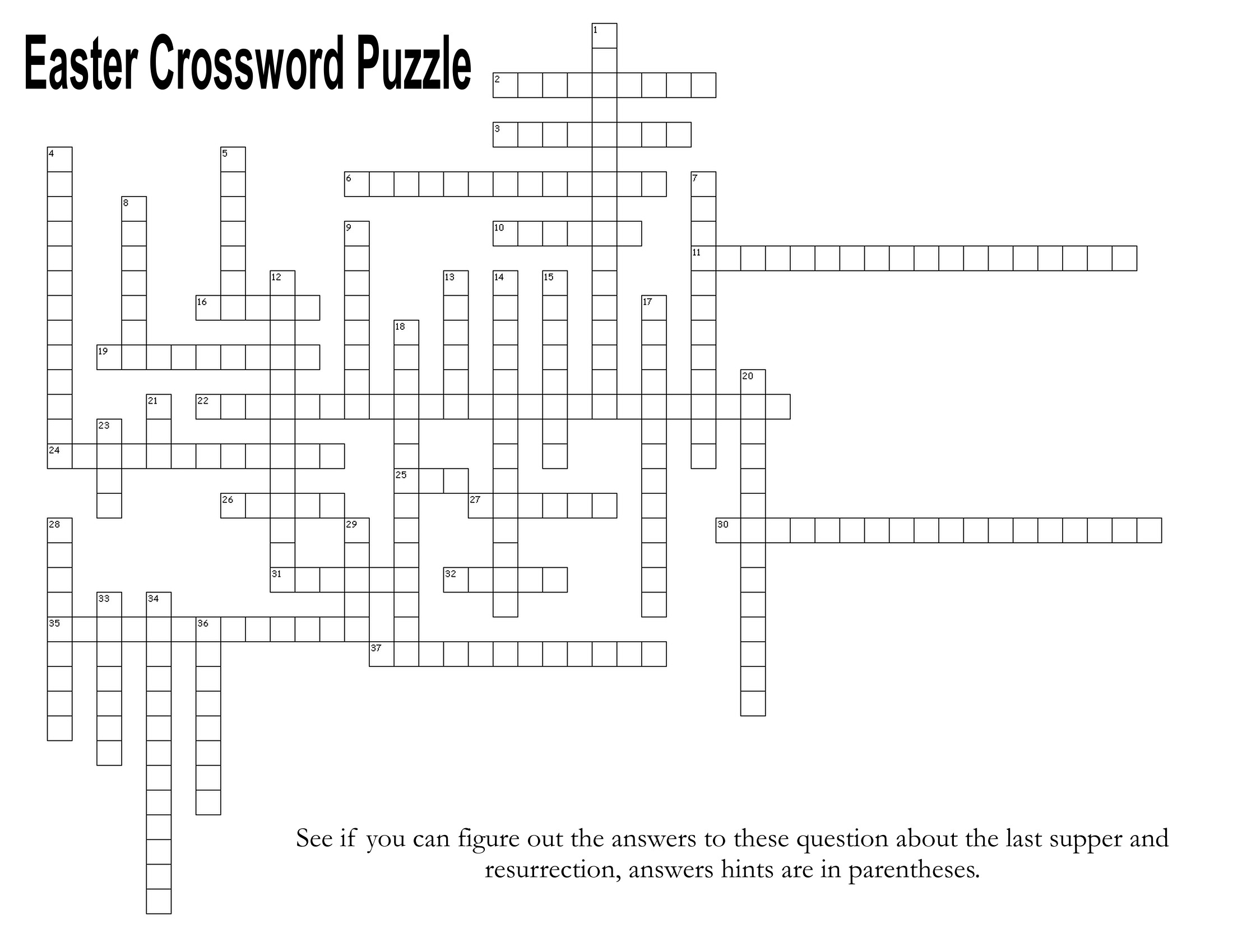 Last Supper And Resurrection Easter Crossword Puzzle