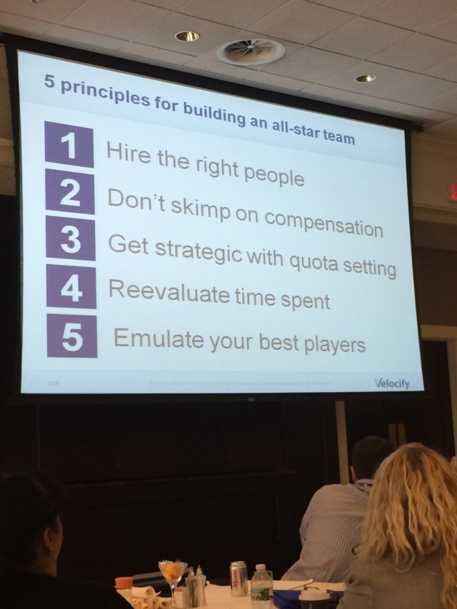 Nick Hedges, CEO of Velocify, shared his 5 principles for building an all star sales team.
