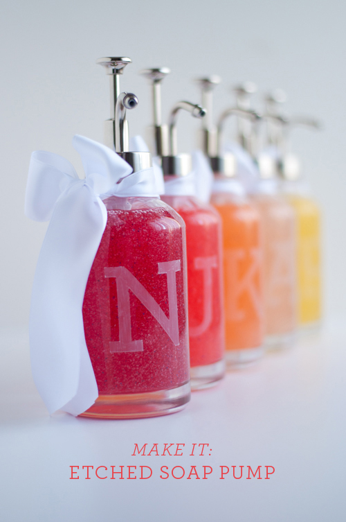 etched monogrammed soap bottles