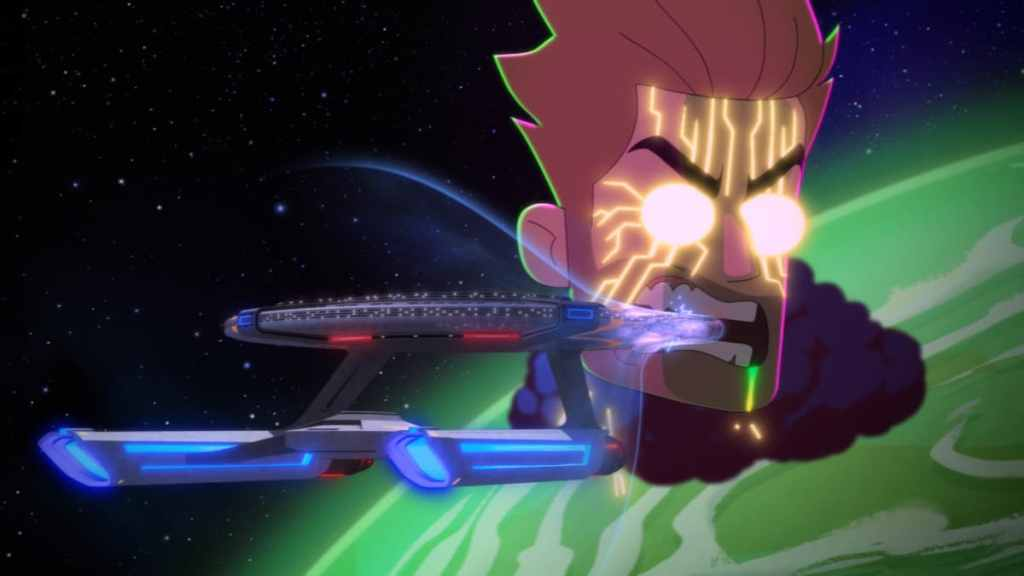 Ransom chews on the Cerritos in the season premiere of Star Trek: Lower Decks, season 2: Strange Energies.